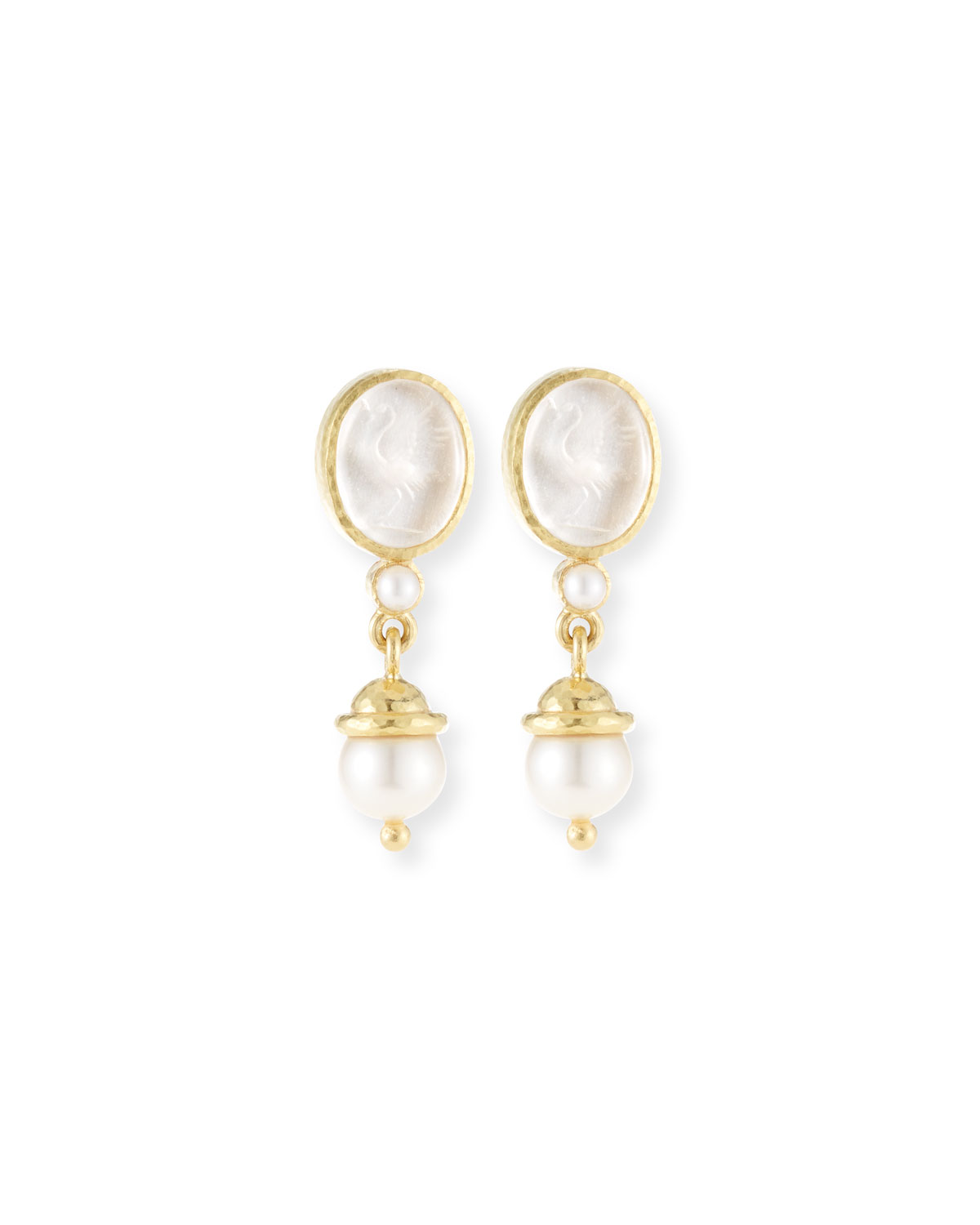 19K Gold Crane Intaglio & Akoya Pearl Drop Earrings