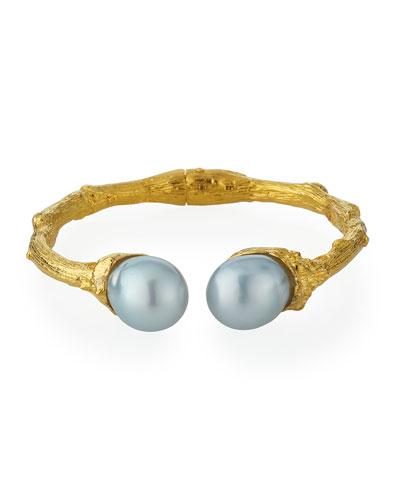 18k Twig Cuff w/ Pearls