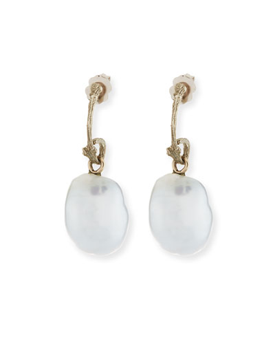 18k Pette Twig Pearl Drop Earrings