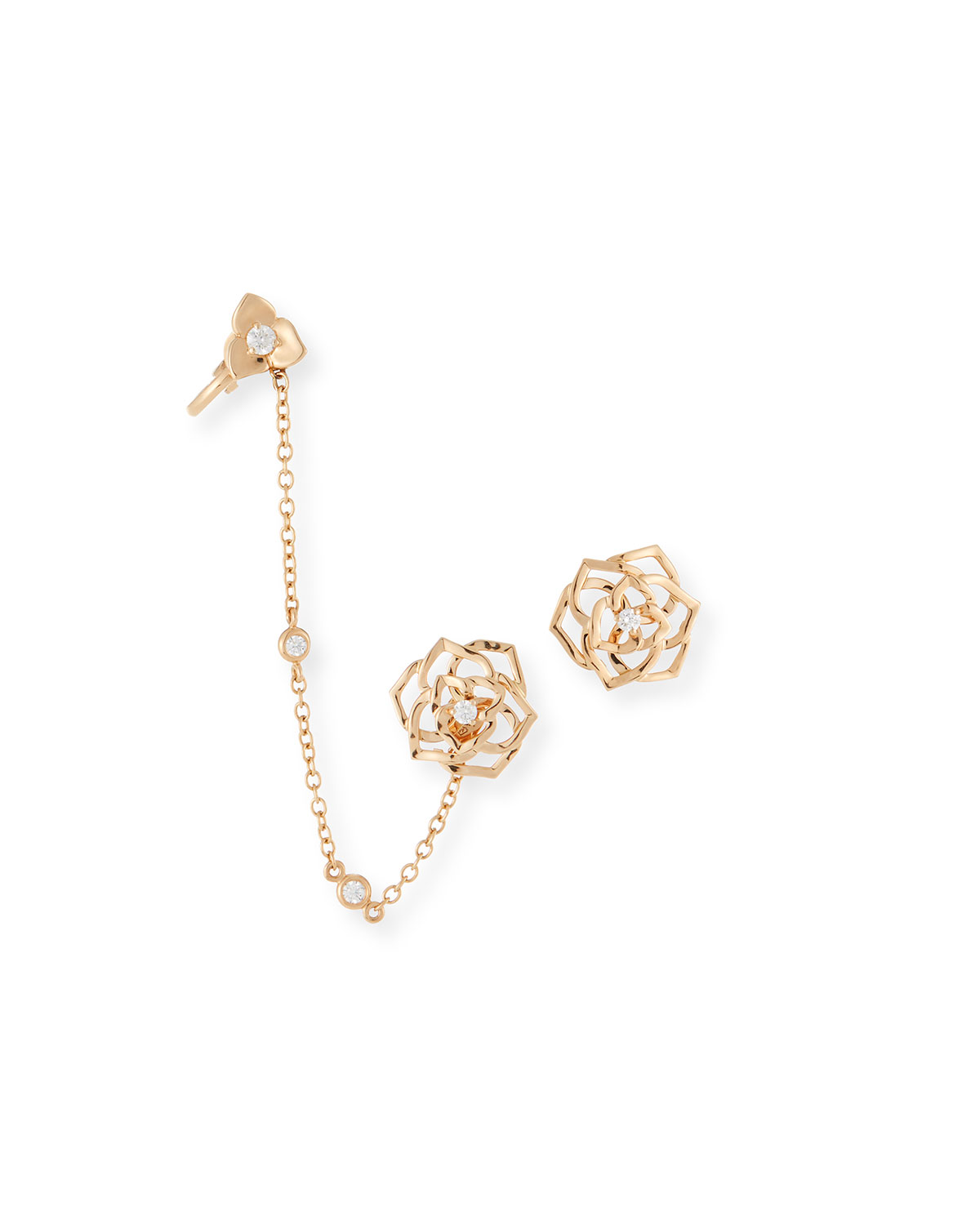 18K GOLD DIAMOND ROSE EAR CLIMBER