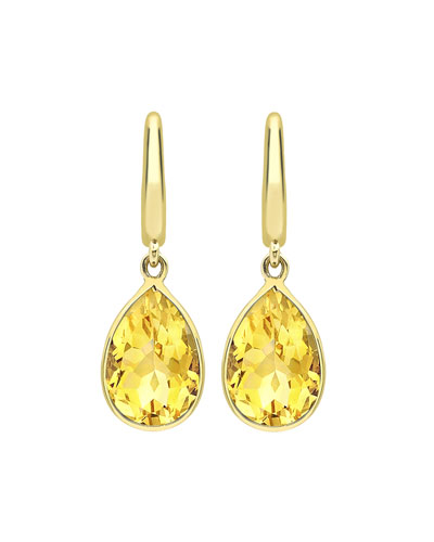 Classic 18k Yellow Citrine Pear Drop Earrings