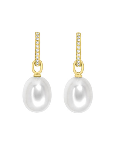 Kiki Mcdonough 18k White Gold Pearl Drop Earrings w/ Diamond Twist LMZNMut