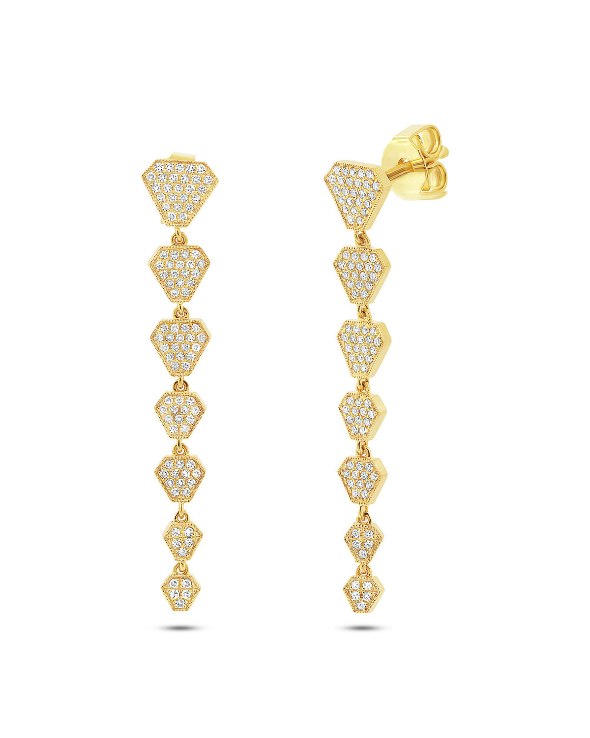 RON HAMI 14K Diamond Shield Drop Earrings