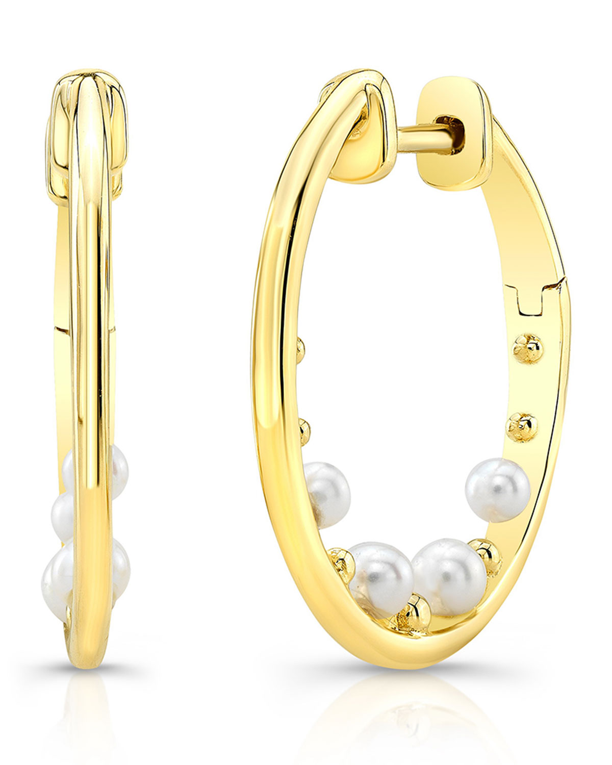 RON HAMI 14K Pearl & Bubble Hoop Earrings