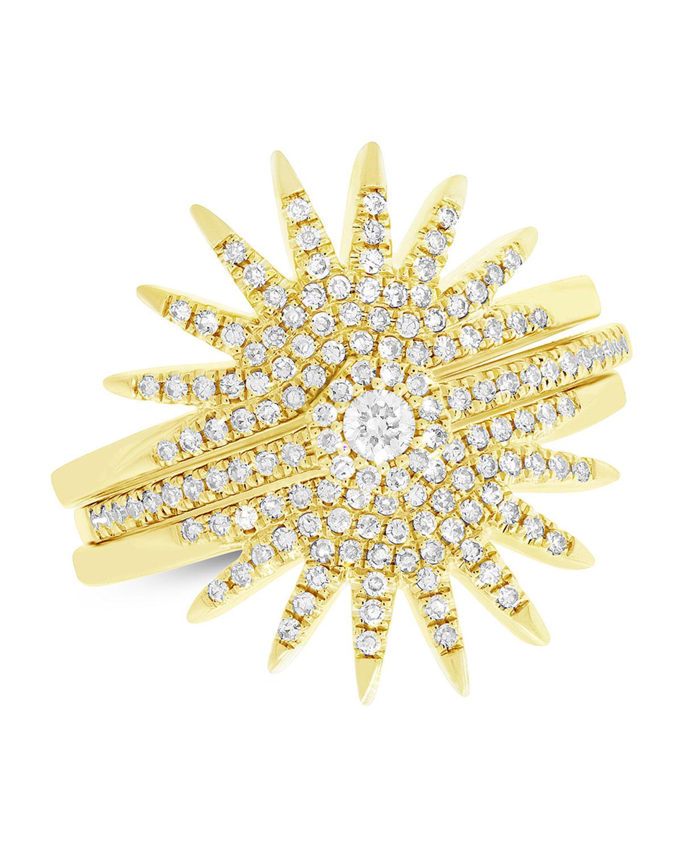 RON HAMI 14K DIAMOND PAVÉ STARBURST RINGS, SET OF THREE (SIZE 7)