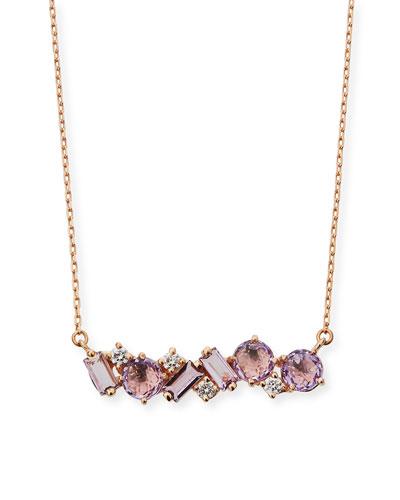 14k Mixed-Cut Rose-de-France Necklace