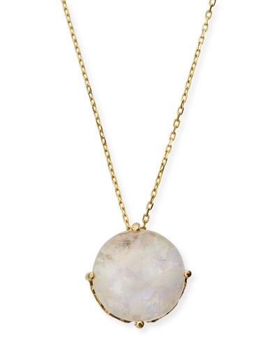 14k Rainbow Moonstone Round Pendant Necklace
