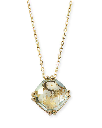 14k Green Amethyst Pendant Necklace