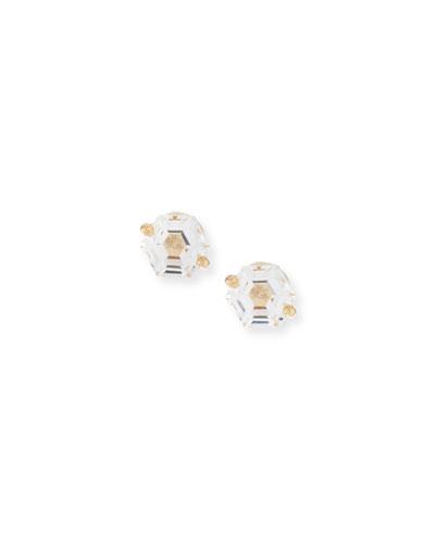 14k White Topaz Hexagon Earrings