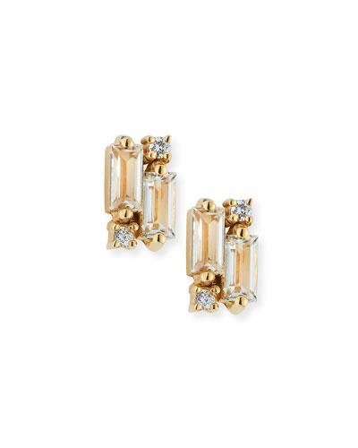 14k White Topaz & Diamond Baguette Mini Fireworks Stud Earrings