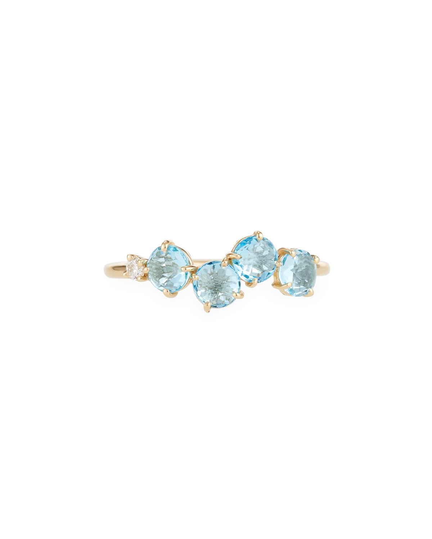 KALAN BY SUZANNE KALAN 14K BLUE TOPAZ & DIAMOND UNEVEN BAND RING, SIZE 7