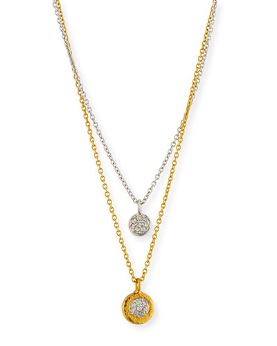 Delicate Diamond Pave Double-Strand Pendant Necklace