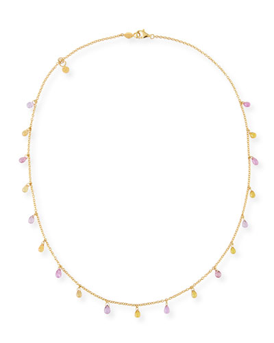 Limited Edition Delicate Dew Necklace with Fancy Sapphire Briolettes