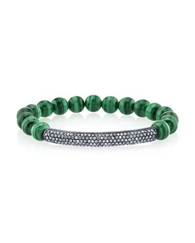 8mm Malachite & Diamond Bar Bracelet