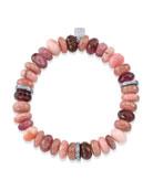 10mm Pink Mix Bracelet w/ 3 Diamond Rondelles