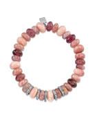 10mm Pink Mix Bracelet w/ 5 Diamond Rondelles