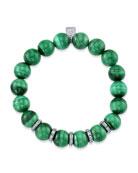 10mm Malachite & Diamond Bead Bracelet