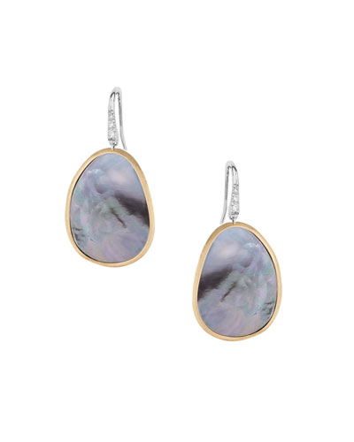 Lunaria Drop Earrings with Black Mother-of-Pearl & Diamonds
