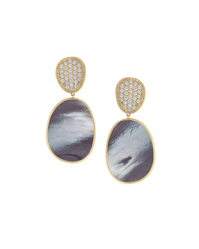 Marco Bicego Lunaria Mother-of-Pearl Drop Earrings with Diamonds, 0.56 tdcw