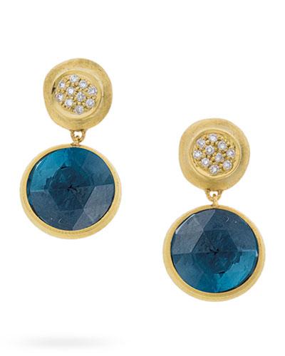 Jaipur Drop Earrings with London Blue Topaz & Diamonds