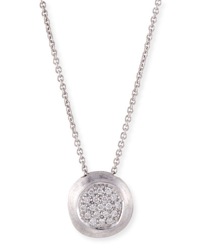 18k Delicati Round Diamond Pave Pendant Necklace