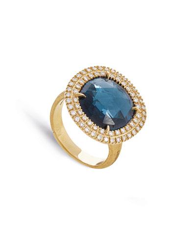 Jaipur 18k London Blue Topaz & Diamond Cocktail Ring