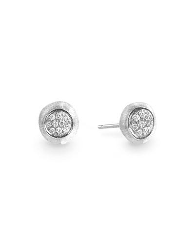 Unico 18k Round Stud Earrings w/ Pave Diamonds
