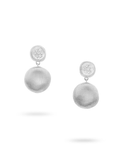 Delicati 18k Round Drop Earrings w/ Pave Diamonds