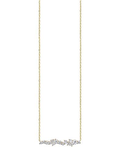 Cocktail 14k Diamond Short Bar Pendant Necklace