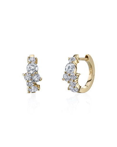 Quick Look Sydney Evan Tail 14k Diamond Huggie Hoop Earrings