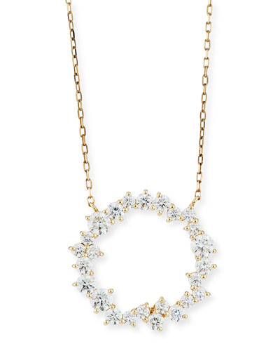 Cocktail 14k Diamond Circle Pendant Necklace