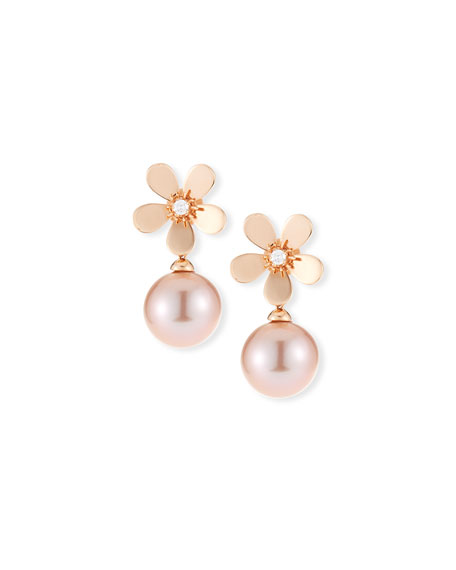 Belpearl 18k Diamond Daisy Pearl Drop Earrings, Rose Gold
