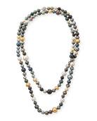 "18k Long Multicolor Pearl Necklace, 50""L"