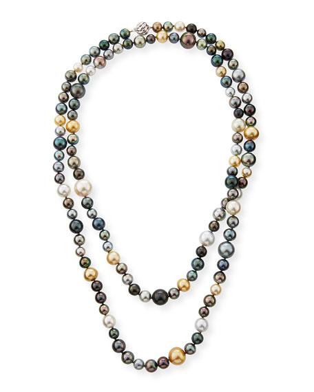 "Belpearl 18k Long Multicolor Pearl Necklace, 50""L"