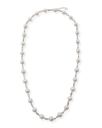 Sequin Graduated Link Pearl Station Necklace 1zaxuedF0