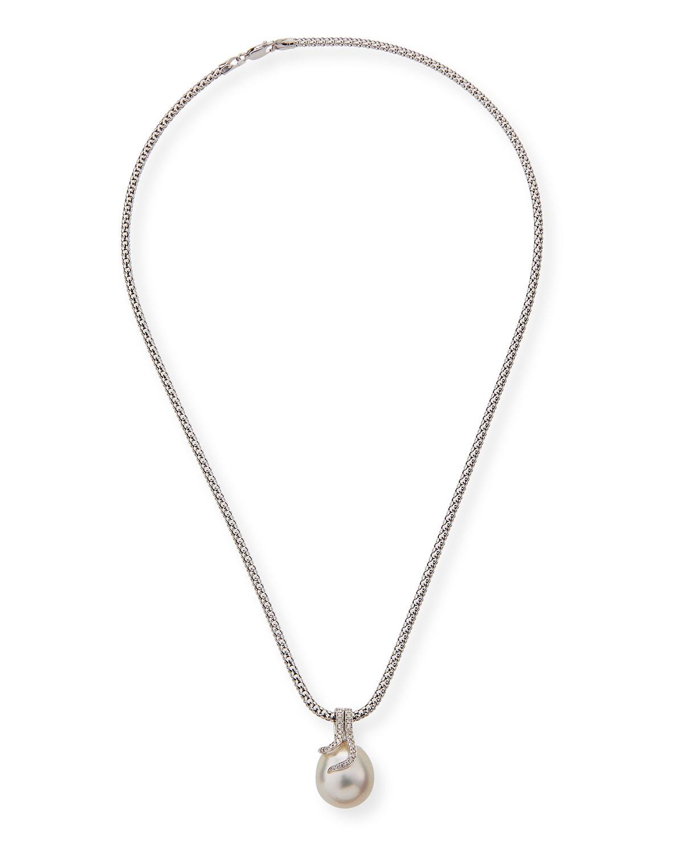 BELPEARL 18K Diamond & Pearl Pendant Necklace