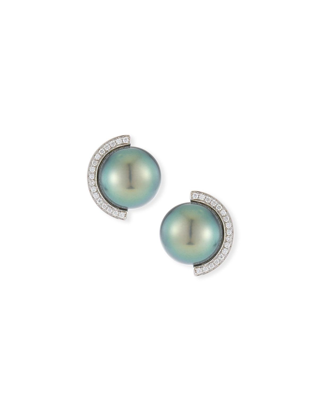 BELPEARL 18K Diamond Half-Halo Pearl Stud Earrings