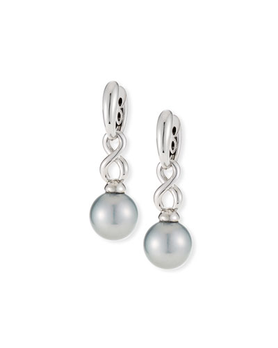 18k Twisted Pearl Drop Earrings