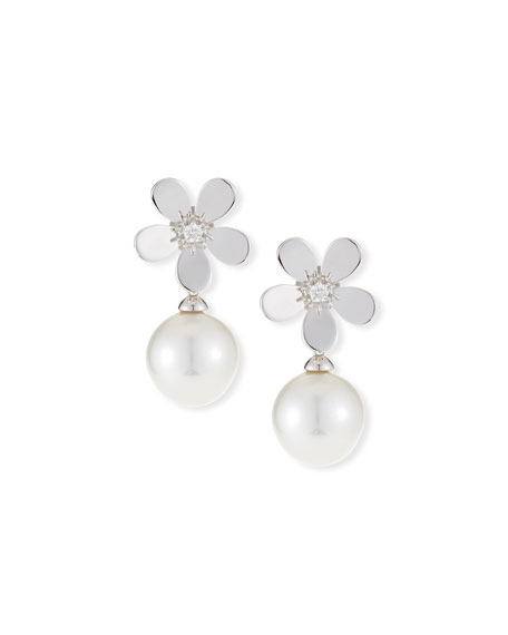 Belpearl 18k Diamond Daisy Pearl Drop Earrings