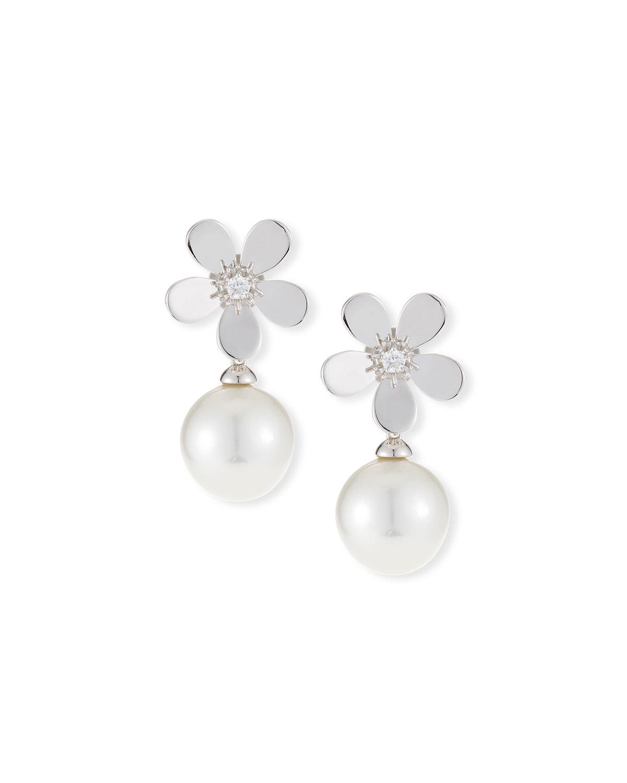 BELPEARL 18K Diamond Daisy Pearl Drop Earrings