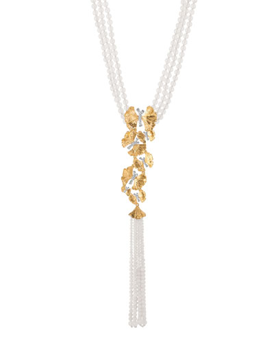 Butterfly Ginkgo Silver & Gold Lariat Necklace w/ Moonstone