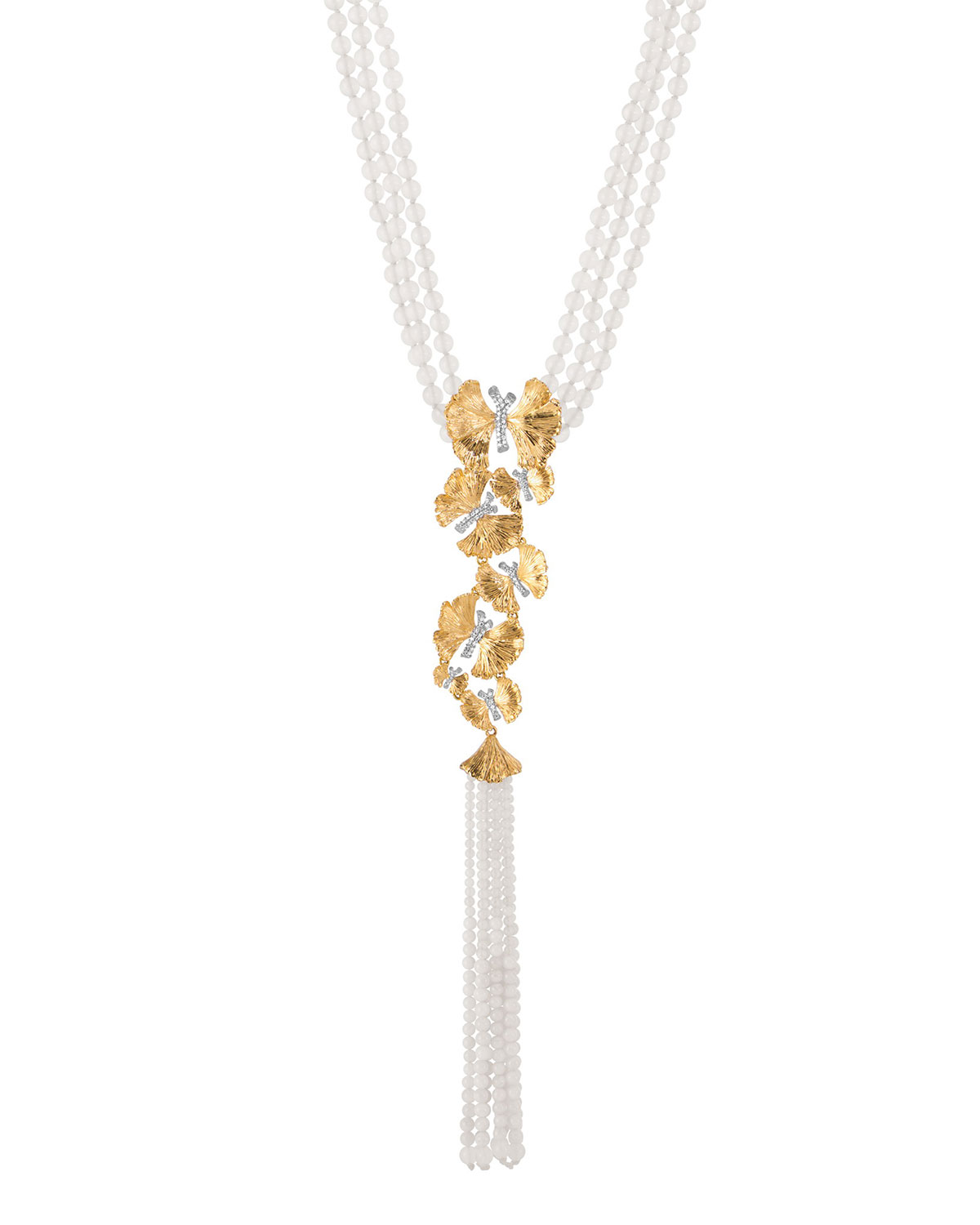 MICHAEL ARAM BUTTERFLY GINKGO SILVER & GOLD LARIAT NECKLACE W/ MOONSTONE