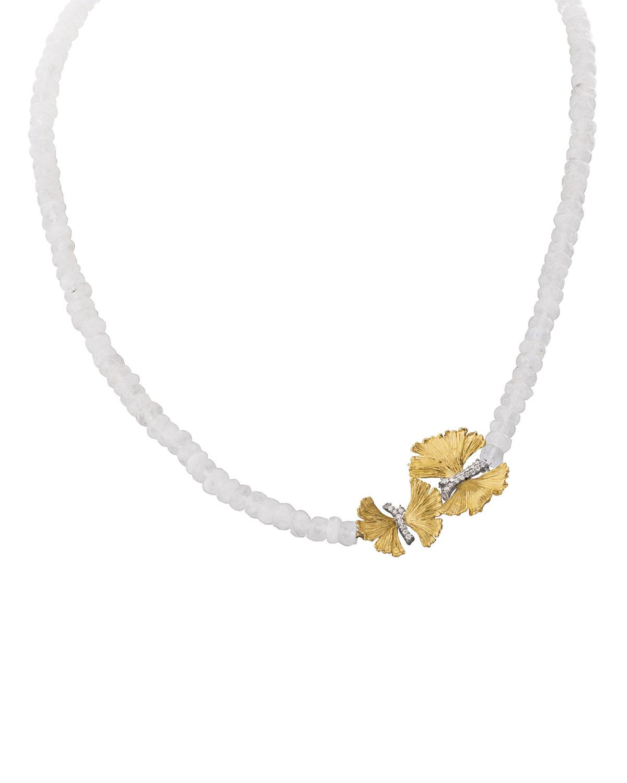 Butterfly Ginkgo Single-Strand Necklace w/ Moonstone