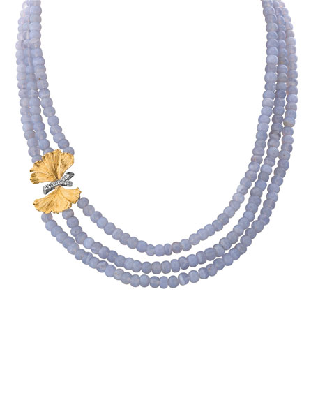 Michael Aram Butterfly Ginkgo Triple-Strand Necklace w/ Chalcedony