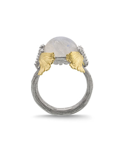Butterfly Ginkgo Dome Ring w/ Moonstone & Diamonds