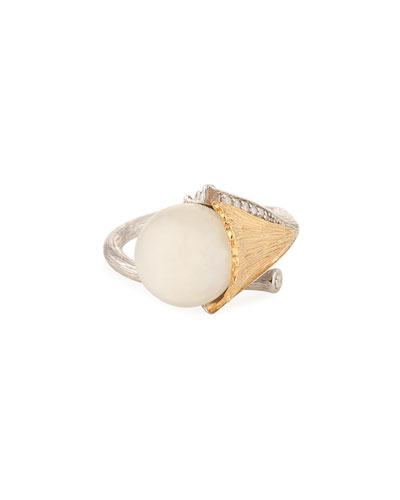 Butterfly Ginkgo Moonstone & Diamond Ring