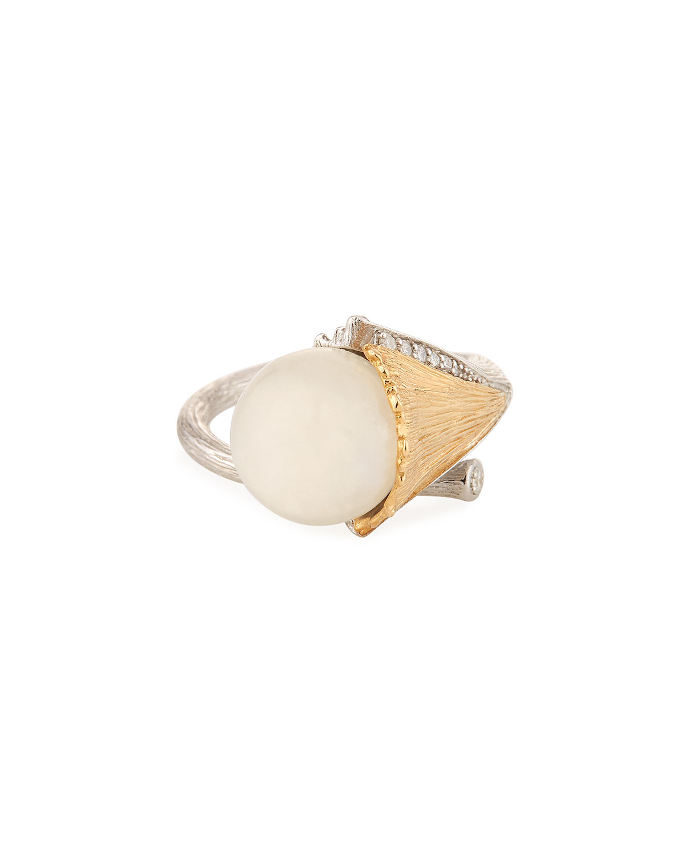 Butterfly Ginkgo Moonstone & Diamond Ring