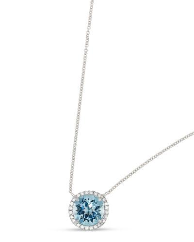 Round Blue Topaz & Diamond Halo Necklace