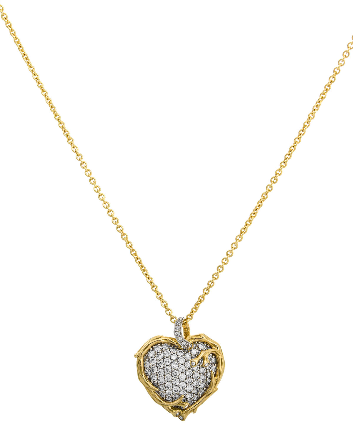 18k Enchanted Forest Twig Heart Necklace w/ Diamonds