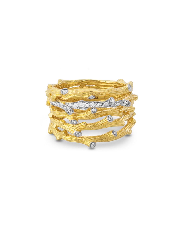 18k Enchanted Forest Multi-Row Ring w/ Diamonds
